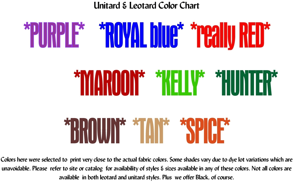 Color chart to approximate colors:purple, royal blue, really red, maroon,kelly green, hunter green, brown, tan, spice